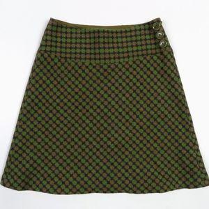 Skirt Taylor Loft Shirt A-Line Plaid Green Preppy